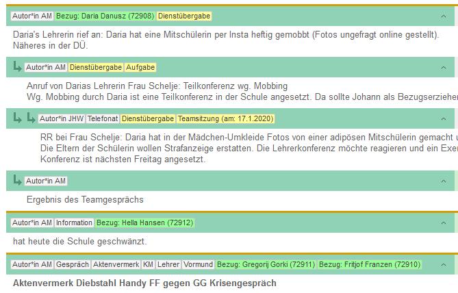 Doku-Eintrag in hierarchisch gruppierter Ansicht